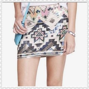 Express Mini Skirt Aztec Medium with Sequins